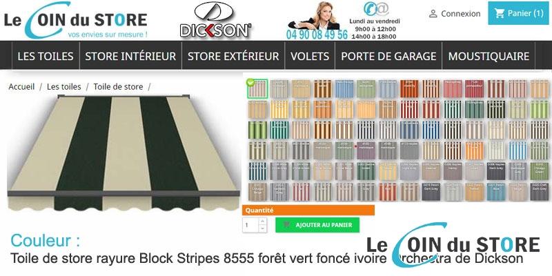 Toile de store rayure block stripes 8555 foret vert fonce ivoire orchestra de dickson