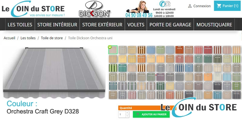 Toile de store rayee craft d328 grey grise gris clair orchestra dickson